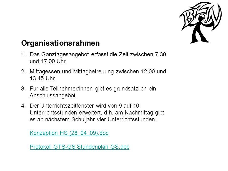 Organisationsrahmen 1.Das Ganztagesangebot erfasst die Zeit zwischen 7.30 und 17.00 Uhr. 2.Mittagessen und Mittagbetreuung zwischen 12.00 und 13.45 Uh