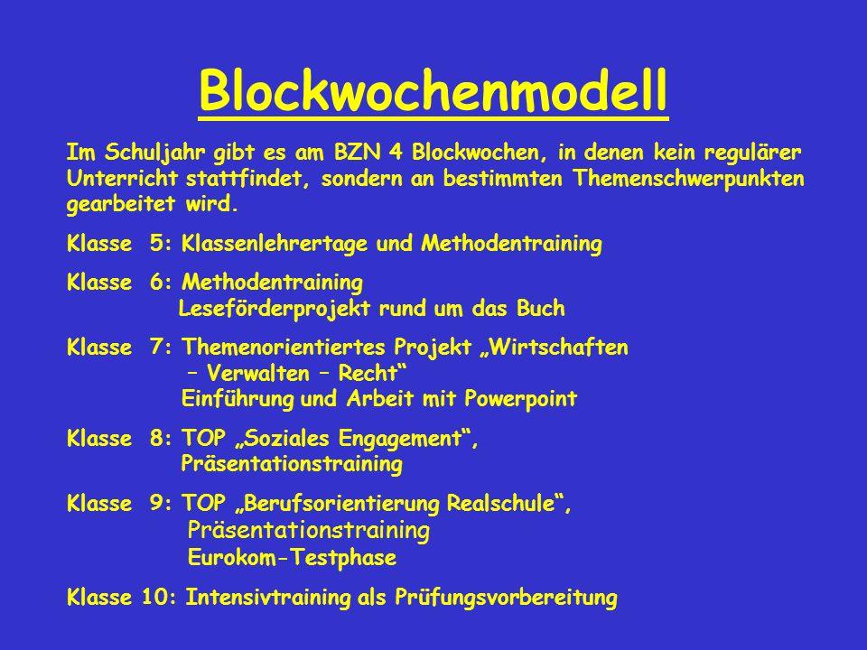 Blockwochenmodell Im Schuljahr gibt es am BZN 4 Blockwochen, in denen kein regulärer Unterricht stattfindet, sondern an bestimmten Themenschwerpunkten