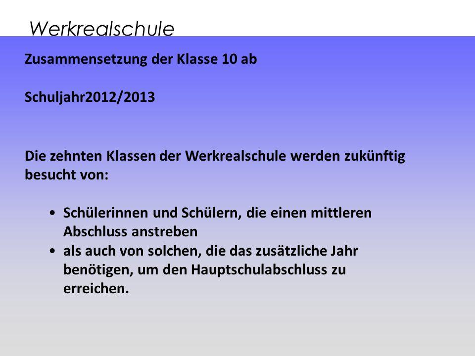 Werkrealschule Zusammensetzung der Klasse 10 ab Schuljahr2012/2013 Die zehnten Klassen der Werkrealschule werden zukünftig besucht von: Schülerinnen u