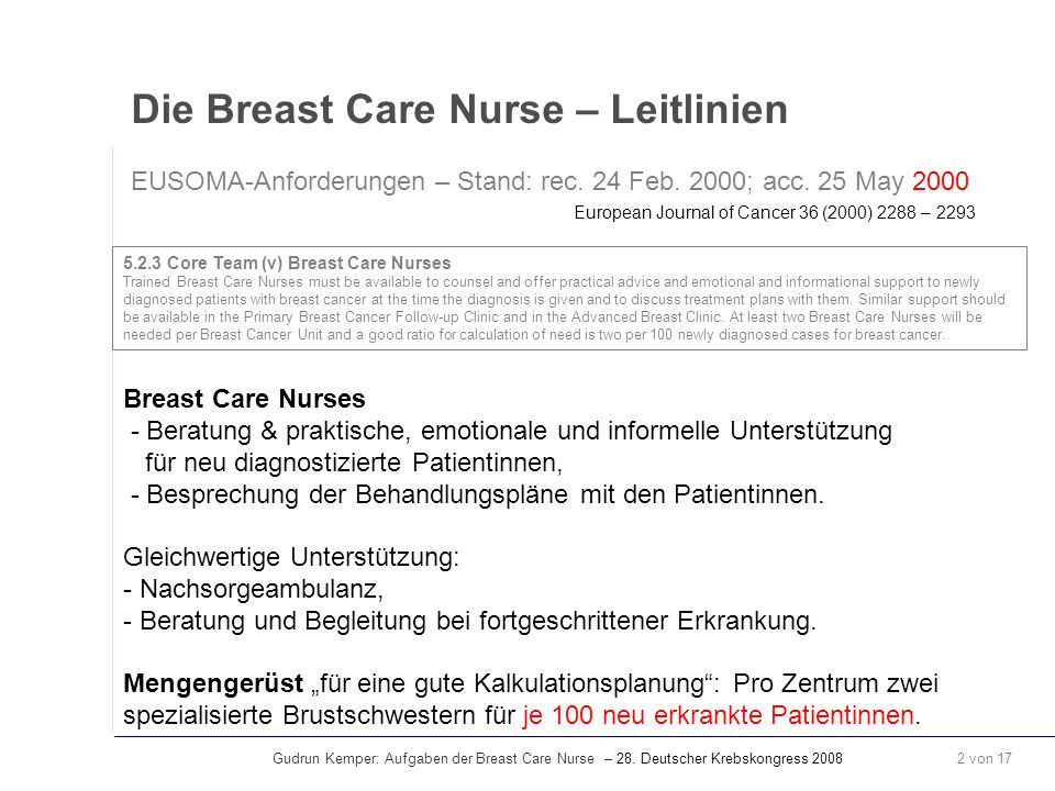Gudrun Kemper: Aufgaben der Breast Care Nurse – 28. Deutscher Krebskongress 2008 2 von 17 Die Breast Care Nurse – Leitlinien EUSOMA-Anforderungen – St