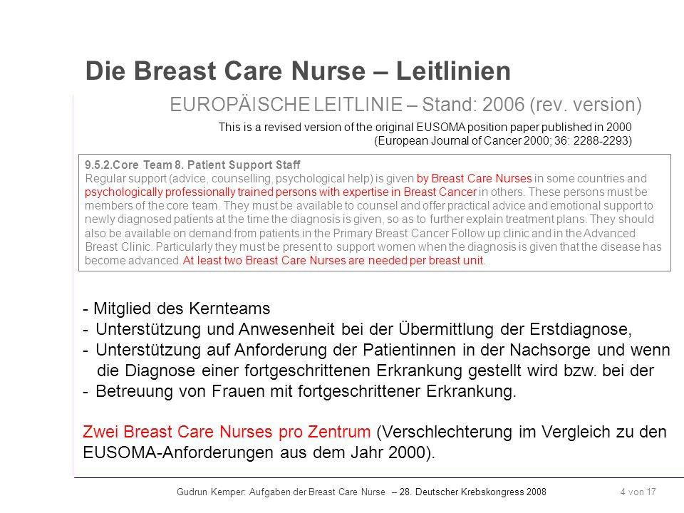 Gudrun Kemper: Aufgaben der Breast Care Nurse – 28. Deutscher Krebskongress 2008 4 von 17 Die Breast Care Nurse – Leitlinien EUROPÄISCHE LEITLINIE – S