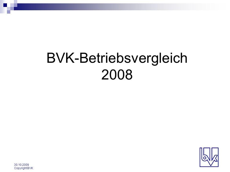 30.10.2009 Copyright BVK BVK-Betriebsvergleich 2008