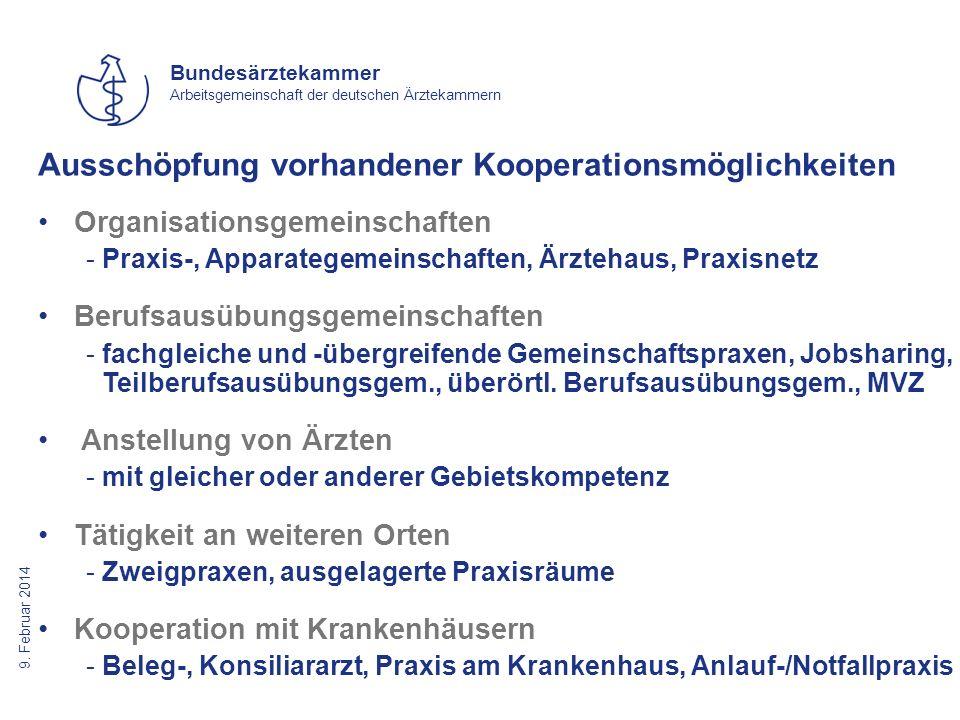 9. Februar 2014 Bundesärztekammer Arbeitsgemeinschaft der deutschen Ärztekammern Ausschöpfung vorhandener Kooperationsmöglichkeiten Organisationsgemei