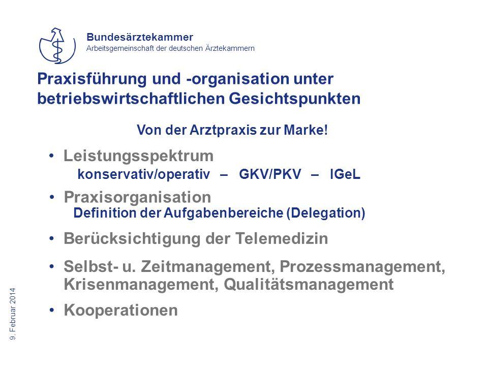 9. Februar 2014 Bundesärztekammer Arbeitsgemeinschaft der deutschen Ärztekammern Von der Arztpraxis zur Marke! Praxisführung und -organisation unter b