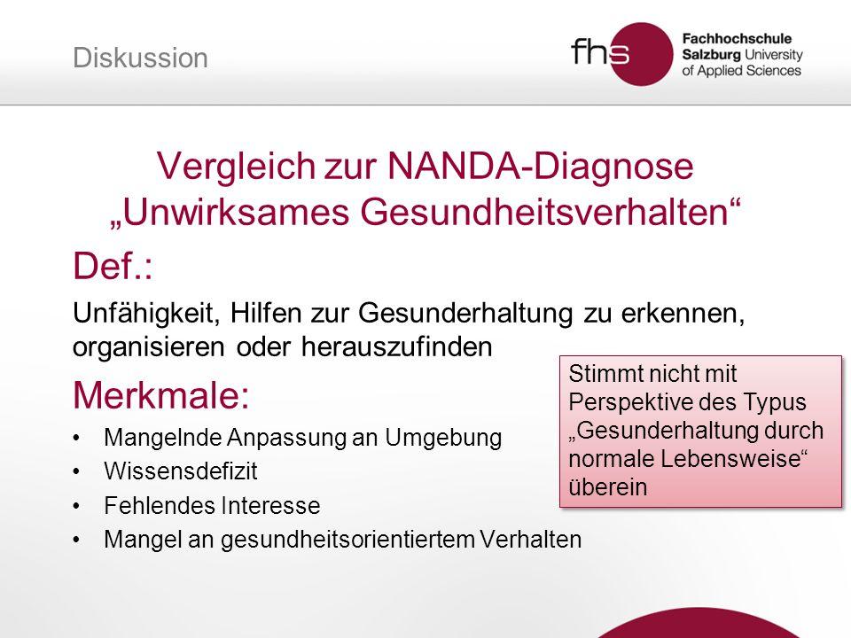 Diskussion Vergleich zur NANDA-Diagnose Unwirksames Gesundheitsverhalten Def.: Unfähigkeit, Hilfen zur Gesunderhaltung zu erkennen, organisieren oder