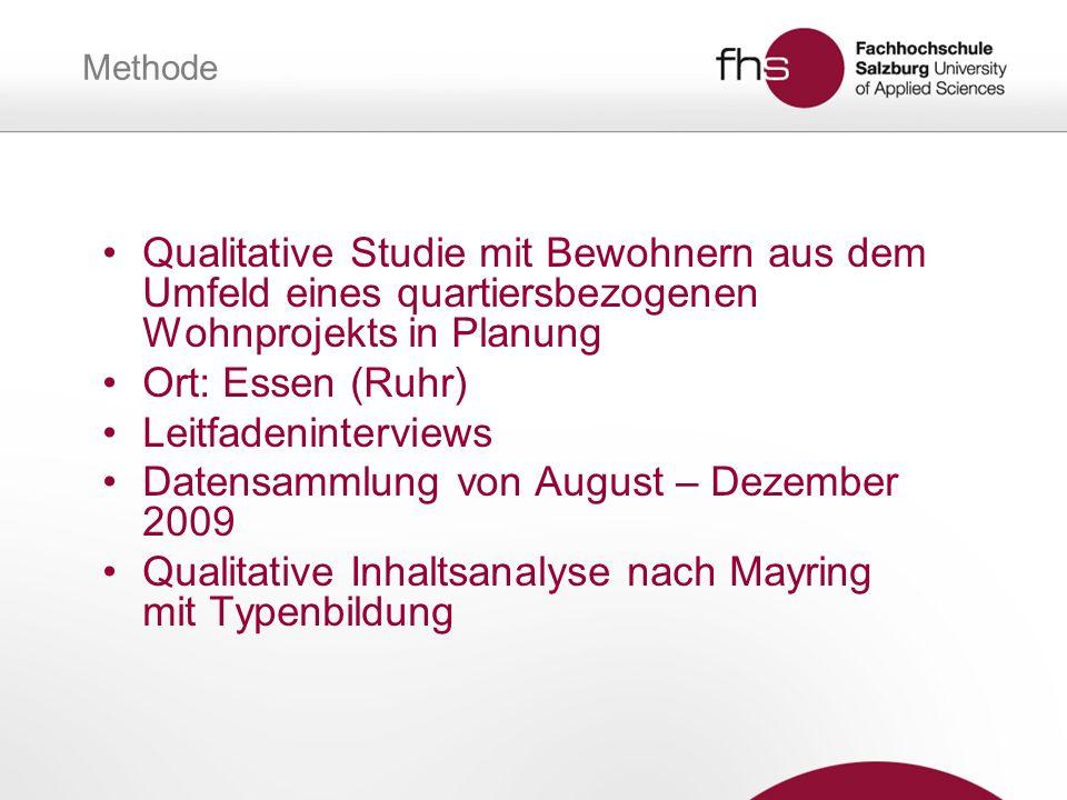 Methode Qualitative Studie mit Bewohnern aus dem Umfeld eines quartiersbezogenen Wohnprojekts in Planung Ort: Essen (Ruhr) Leitfadeninterviews Datensa