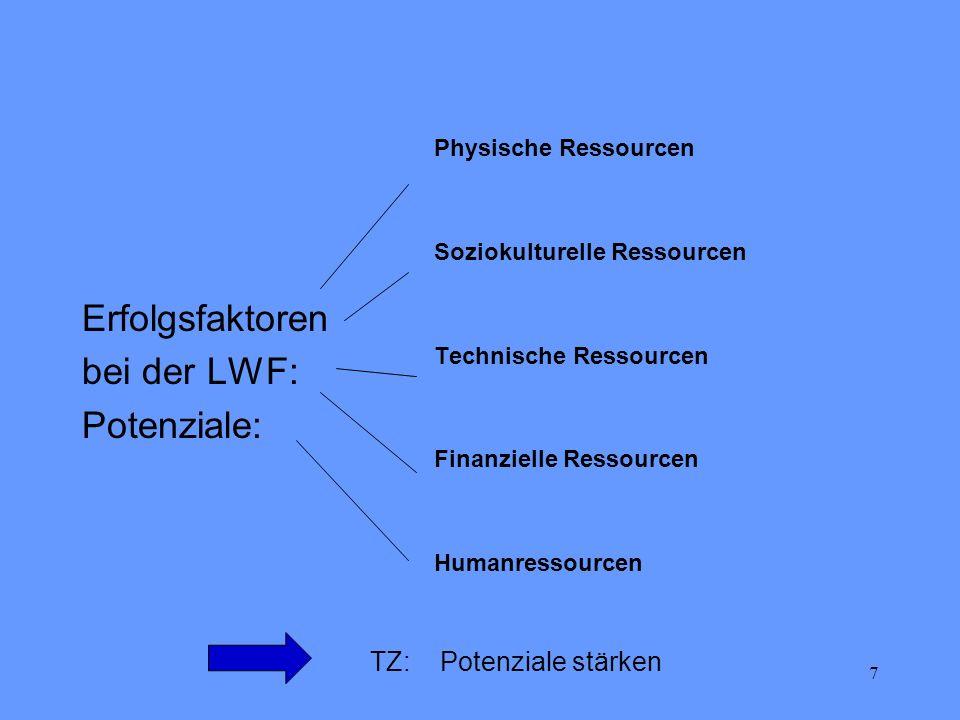 7 Erfolgsfaktoren bei der LWF: Potenziale: Physische Ressourcen Soziokulturelle Ressourcen Technische Ressourcen Finanzielle Ressourcen Humanressource