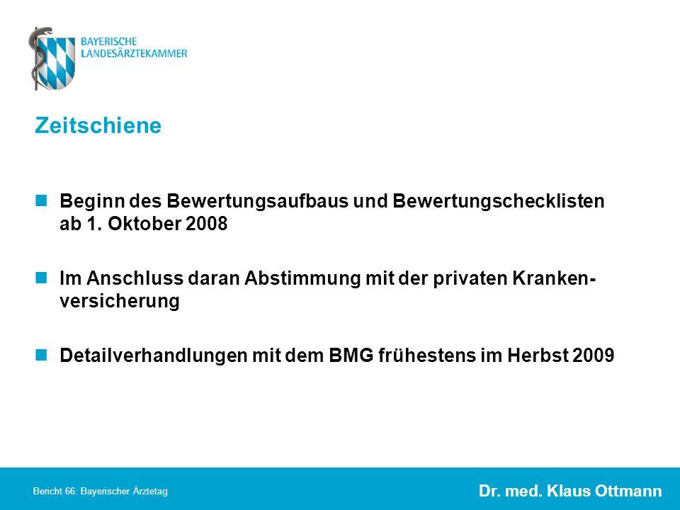 Dr. med. Klaus Ottmann Bericht 66. Bayerischer Ärztetag Zeitschiene Beginn des Bewertungsaufbaus und Bewertungschecklisten ab 1. Oktober 2008 Im Ansch