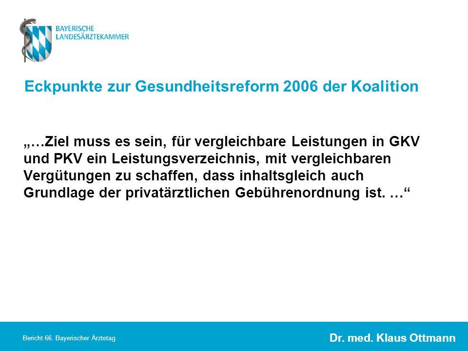 Dr. med. Klaus Ottmann Bericht 66. Bayerischer Ärztetag Eckpunkte zur Gesundheitsreform 2006 der Koalition …Ziel muss es sein, für vergleichbare Leist