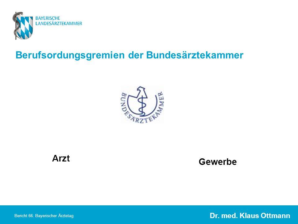 Dr. med. Klaus Ottmann Bericht 66. Bayerischer Ärztetag Berufsordungsgremien der Bundesärztekammer Arzt Gewerbe