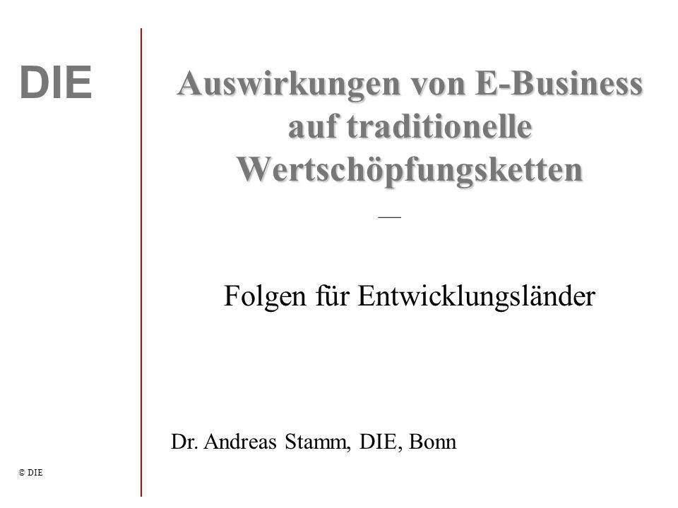 DIE © DIE Auswirkungen von E-Business auf traditionelle Wertschöpfungsketten Folgen für Entwicklungsländer Dr.
