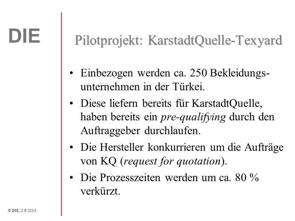 DIE © DIE, 2/9/2014 Pilotprojekt: KarstadtQuelle-Texyard Einbezogen werden ca.