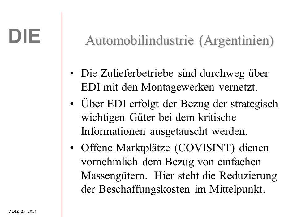 DIE © DIE, 2/9/2014 Automobilindustrie (Argentinien) Die Zulieferbetriebe sind durchweg über EDI mit den Montagewerken vernetzt.