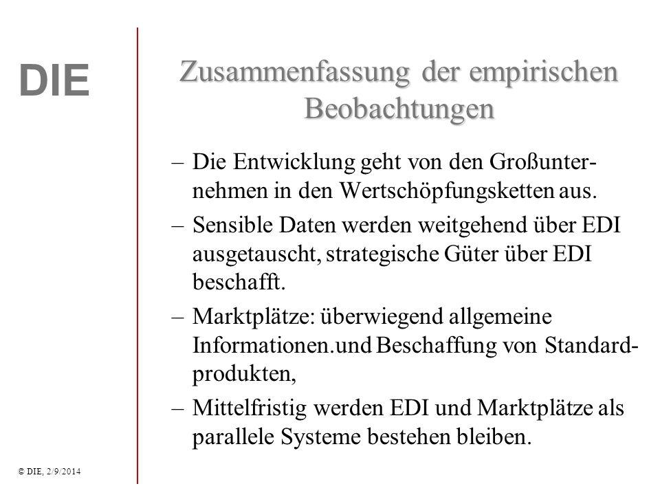 DIE © DIE, 2/9/2014 Zusammenfassung der empirischen Beobachtungen –Die Entwicklung geht von den Großunter- nehmen in den Wertschöpfungsketten aus.