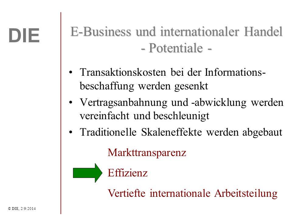 DIE © DIE, 2/9/2014 E-Business und internationaler Handel - Potentiale - Transaktionskosten bei der Informations- beschaffung werden gesenkt Vertragsanbahnung und -abwicklung werden vereinfacht und beschleunigt Traditionelle Skaleneffekte werden abgebaut Markttransparenz Effizienz Vertiefte internationale Arbeitsteilung