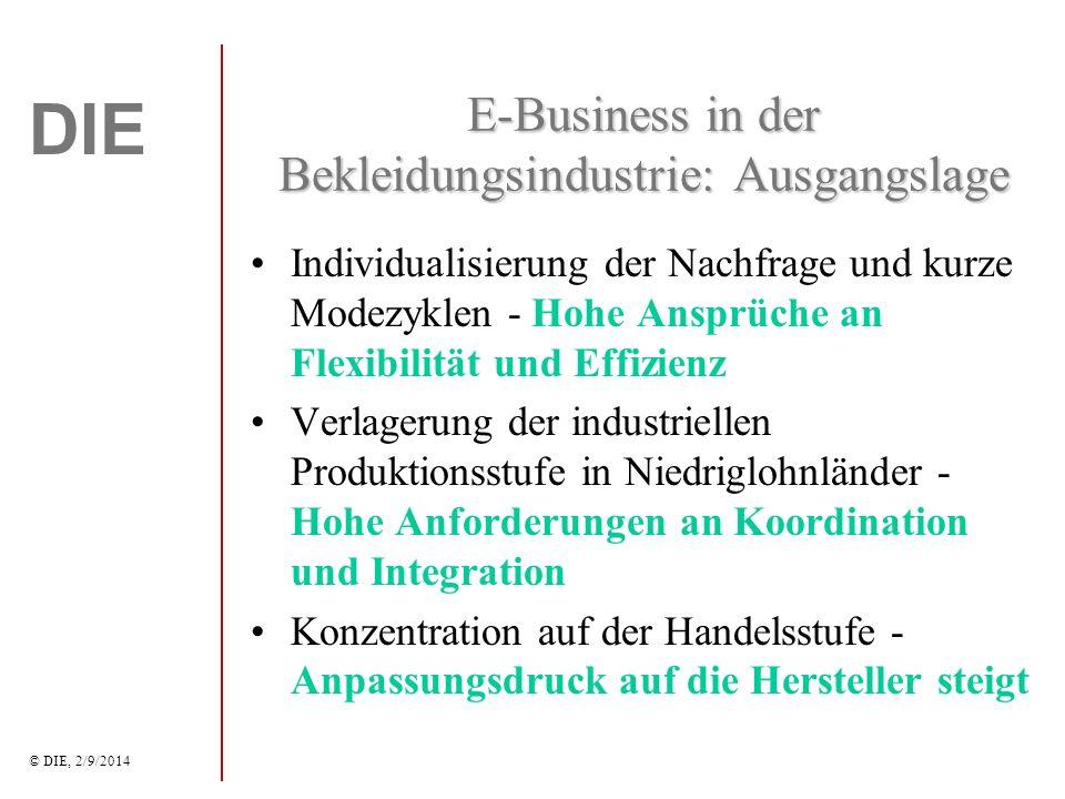 DIE © DIE, 2/9/2014 Auswirkungen auf KMU Die Einführung von E-Business wird durch die Großunternehmen in der WSK induziert.