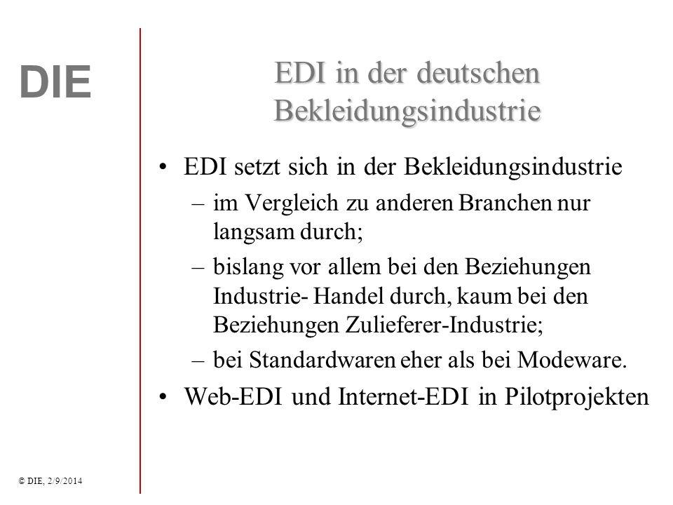 DIE © DIE, 2/9/2014 B2B-Marktplätze in der Bekleidungsindustrie bislang vor allem ein Instrument der Informationsbeschaffung; geschäftliche Transaktionen werden derzeit noch nicht über Marktplätze abgewickelt; Probleme der Integration in die internen Warenwirtschaftssysteme; Unternehmen stehen einer Offenlegung ihrer Geschäftspraktiken auf offenen Marktplät- zen kritisch gegenüber (Extranets, EDI).