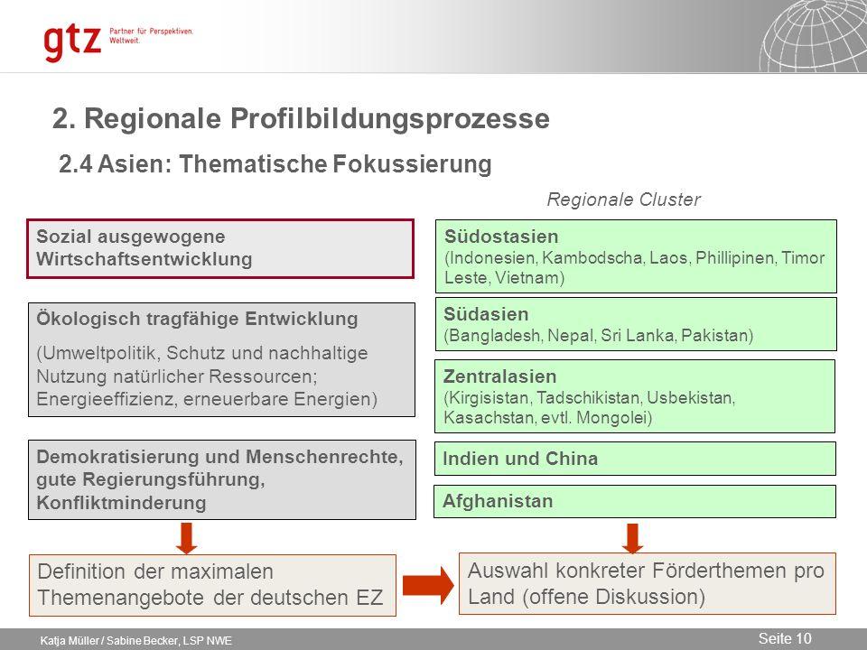 09.02.2014 Seite 10 Seite 10 Katja Müller / Sabine Becker, LSP NWE 2. Regionale Profilbildungsprozesse Regionale Cluster Sozial ausgewogene Wirtschaft