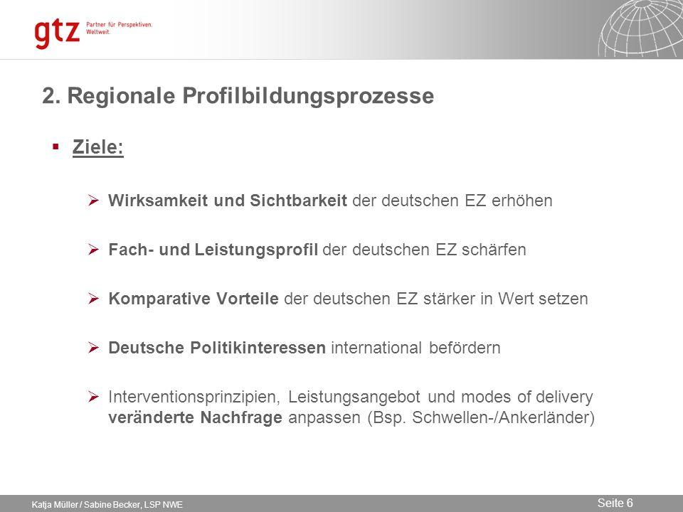 09.02.2014 Seite 6 Seite 6 Katja Müller / Sabine Becker, LSP NWE 2. Regionale Profilbildungsprozesse Ziele: Wirksamkeit und Sichtbarkeit der deutschen