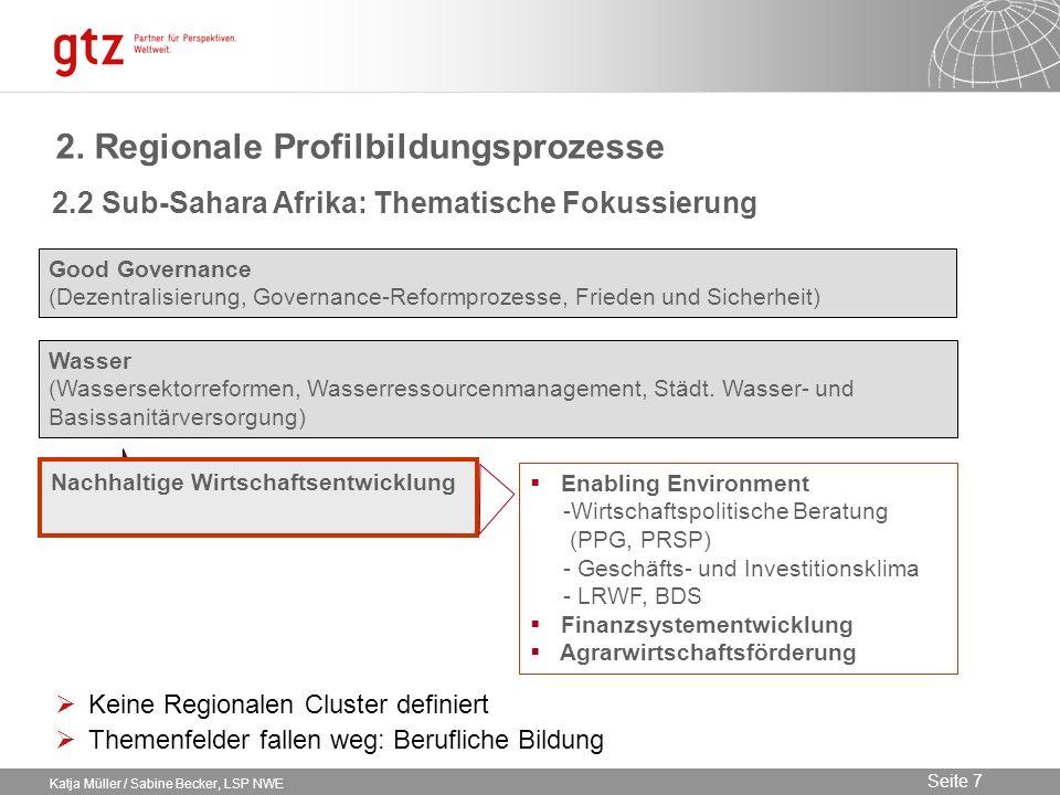 09.02.2014 Seite 7 Seite 7 Katja Müller / Sabine Becker, LSP NWE 2. Regionale Profilbildungsprozesse Good Governance (Dezentralisierung, Governance-Re