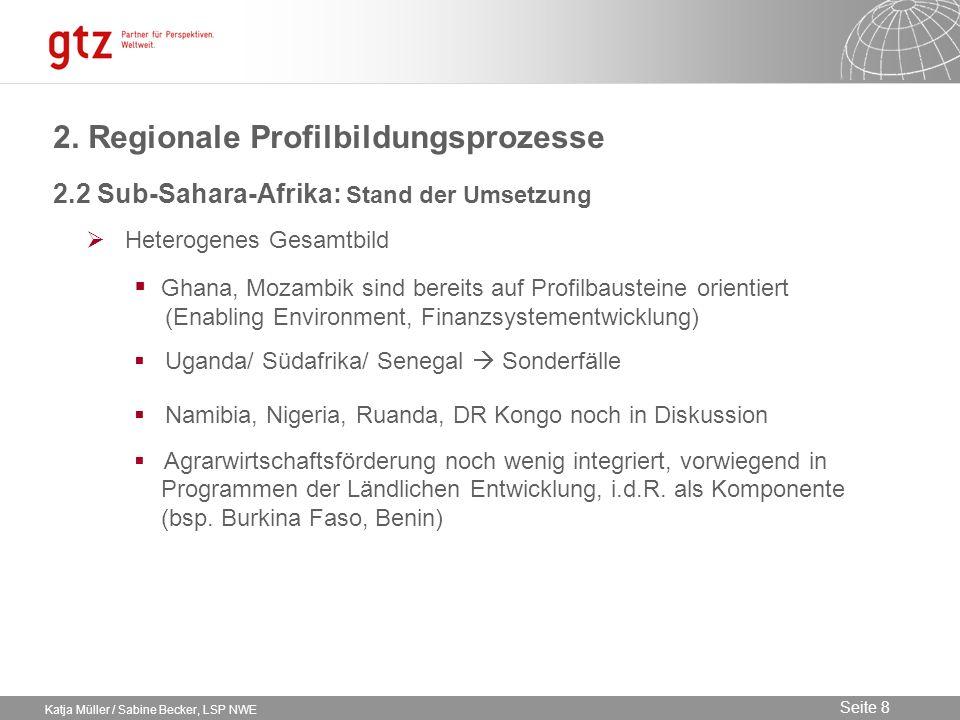 09.02.2014 Seite 8 Seite 8 Katja Müller / Sabine Becker, LSP NWE 2.2 Sub-Sahara-Afrika: Stand der Umsetzung Heterogenes Gesamtbild Ghana, Mozambik sin