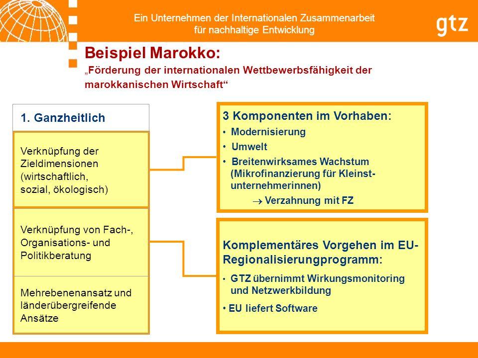 Ein Unternehmen der Internationalen Zusammenarbeit für nachhaltige Entwicklung Komplementäres Vorgehen im EU- Regionalisierungprogramm: GTZ übernimmt