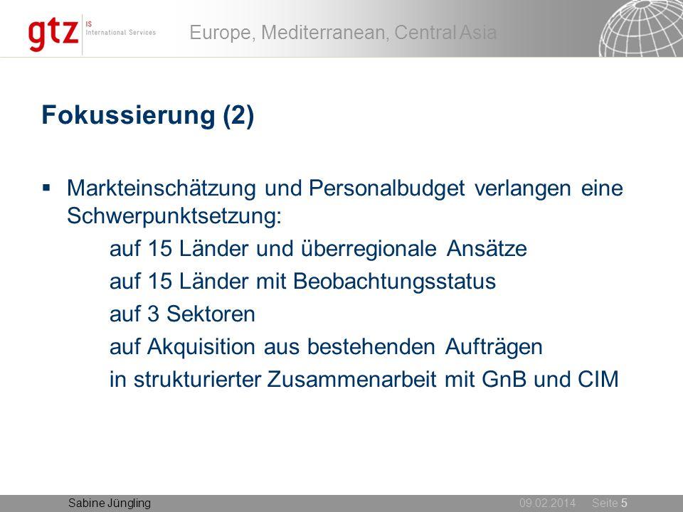09.02.2014 Seite 5 Europe, Mediterranean, Central Asia Sabine Jüngling Fokussierung (2) Markteinschätzung und Personalbudget verlangen eine Schwerpunk