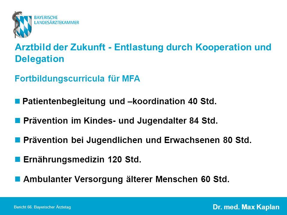 Dr. med. Max Kaplan Bericht 66. Bayerischer Ärztetag Arztbild der Zukunft - Entlastung durch Kooperation und Delegation Patientenbegleitung und –koord