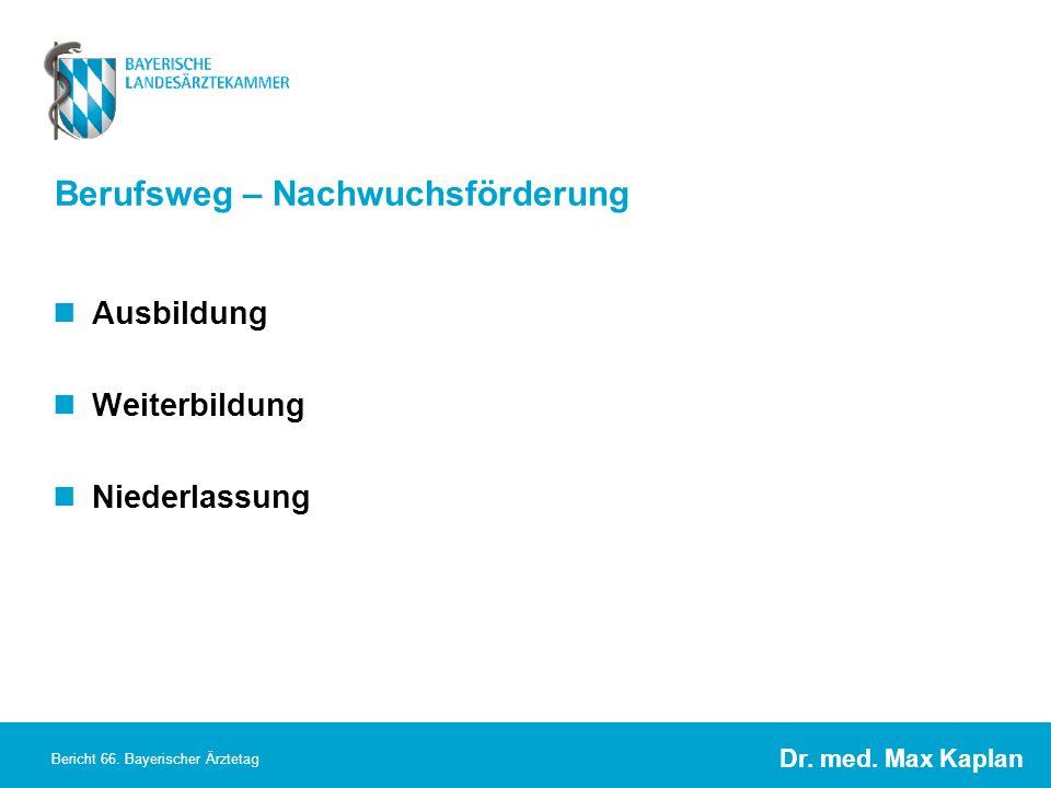 Dr. med. Max Kaplan Bericht 66. Bayerischer Ärztetag Berufsweg – Nachwuchsförderung Ausbildung Weiterbildung Niederlassung
