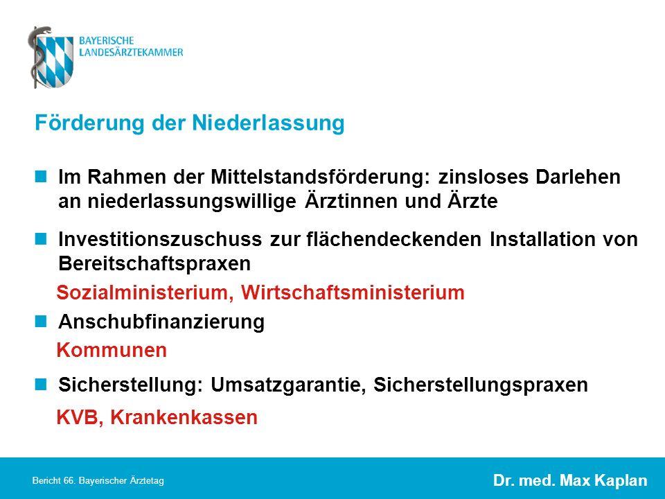 Dr. med. Max Kaplan Bericht 66. Bayerischer Ärztetag Förderung der Niederlassung Im Rahmen der Mittelstandsförderung: zinsloses Darlehen an niederlass