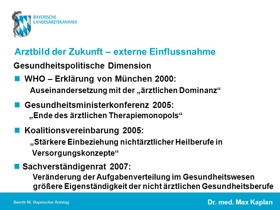 Dr. med. Max Kaplan Bericht 66. Bayerischer Ärztetag Arztbild der Zukunft – externe Einflussnahme WHO – Erklärung von München 2000: Auseinandersetzung