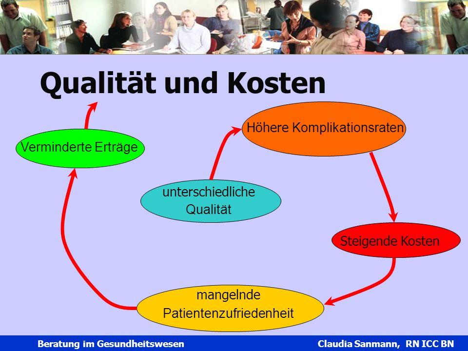 Claudia Sanmann Beratung im Gesundheitswesen Claudia Sanmann, RN ICC BN Qualität und Kosten unterschiedliche Qualität Höhere Komplikationsraten Steige