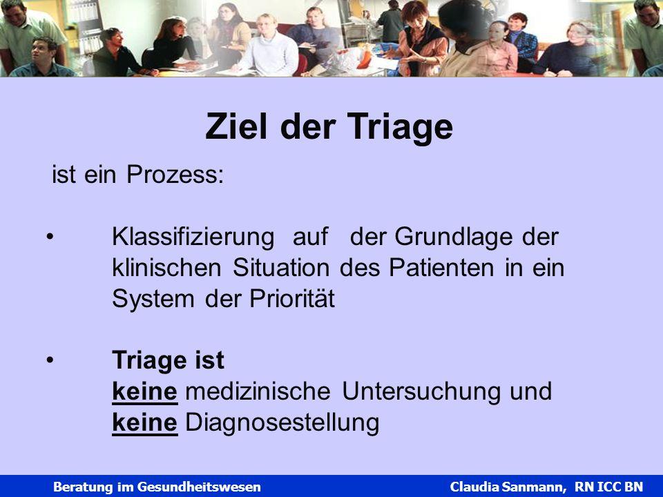Claudia Sanmann Beratung im Gesundheitswesen Claudia Sanmann, RN ICC BN Ziel der Triage ist ein Prozess: Klassifizierung auf der Grundlage der klinisc