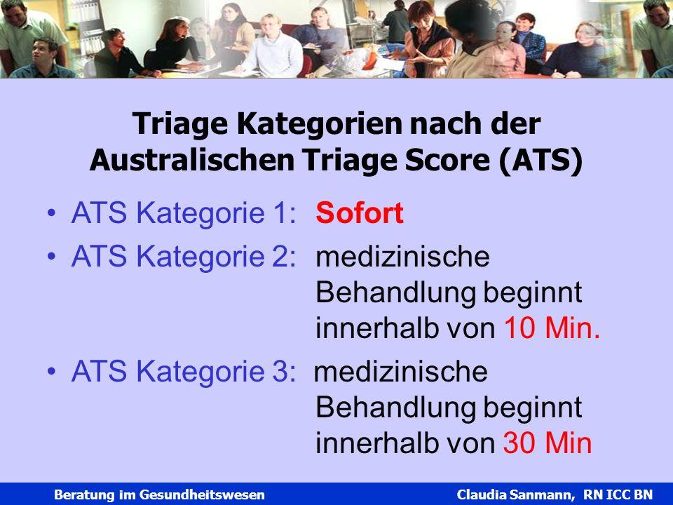 Claudia Sanmann Beratung im Gesundheitswesen Claudia Sanmann, RN ICC BN Triage Kategorien nach der Australischen Triage Score (ATS) ATS Kategorie 1:So