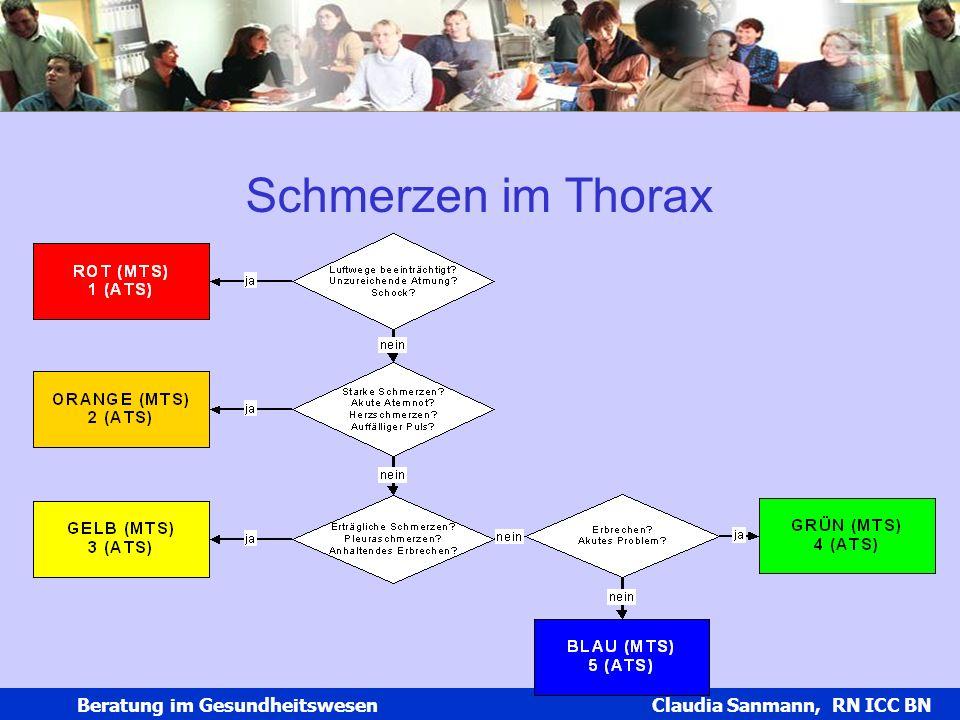 Claudia Sanmann Beratung im Gesundheitswesen Claudia Sanmann, RN ICC BN Schmerzen im Thorax