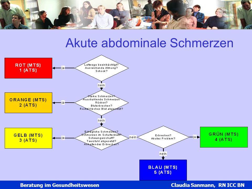 Claudia Sanmann Beratung im Gesundheitswesen Claudia Sanmann, RN ICC BN Akute abdominale Schmerzen
