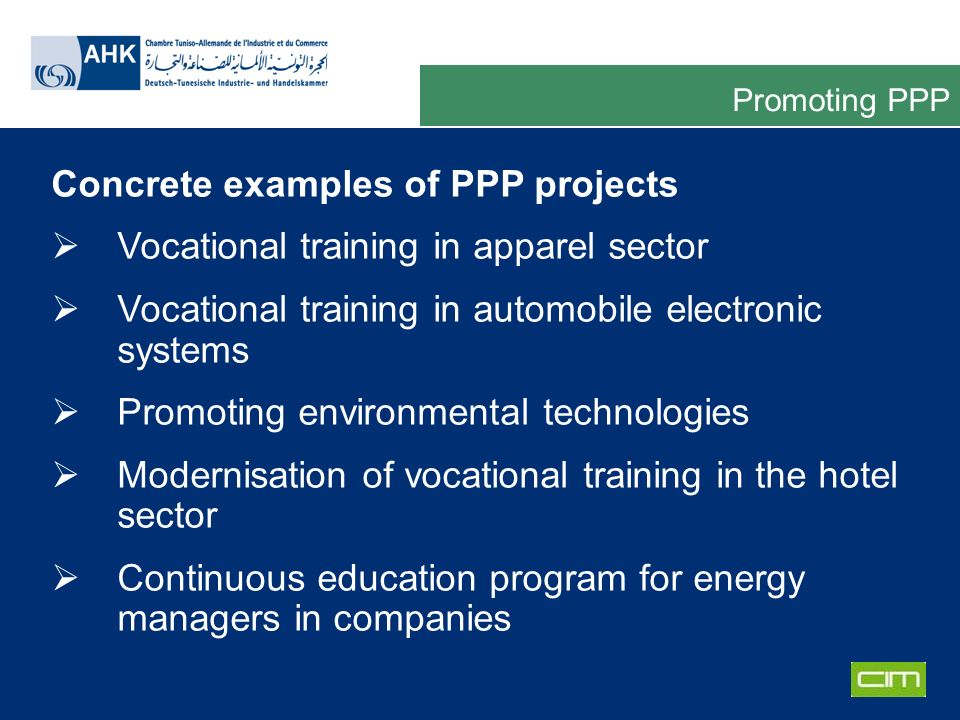 Deutsche Gesellschaft für Technische Zusammenarbeit GmbH Concrete examples of PPP projects Vocational training in apparel sector Vocational training i