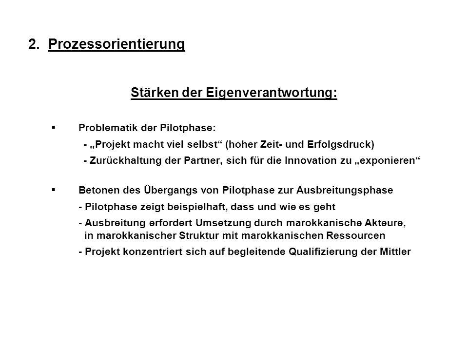 2. Prozessorientierung Stärken der Eigenverantwortung: Problematik der Pilotphase: - Projekt macht viel selbst (hoher Zeit- und Erfolgsdruck) - Zurück