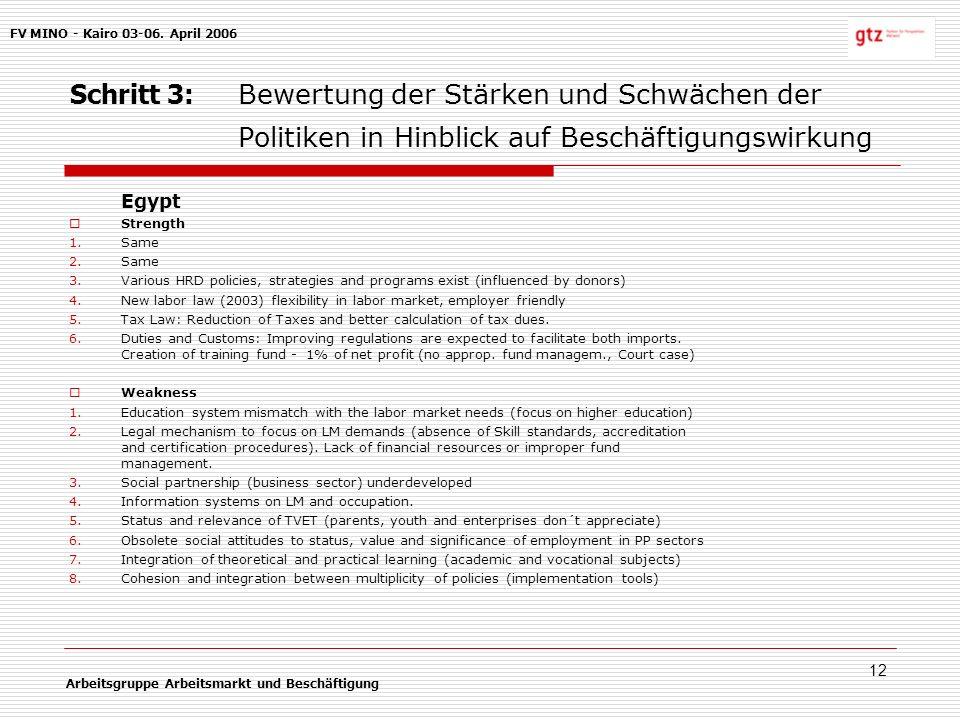 12 Schritt 3: Bewertung der Stärken und Schwächen der Politiken in Hinblick auf Beschäftigungswirkung FV MINO - Kairo 03-06.