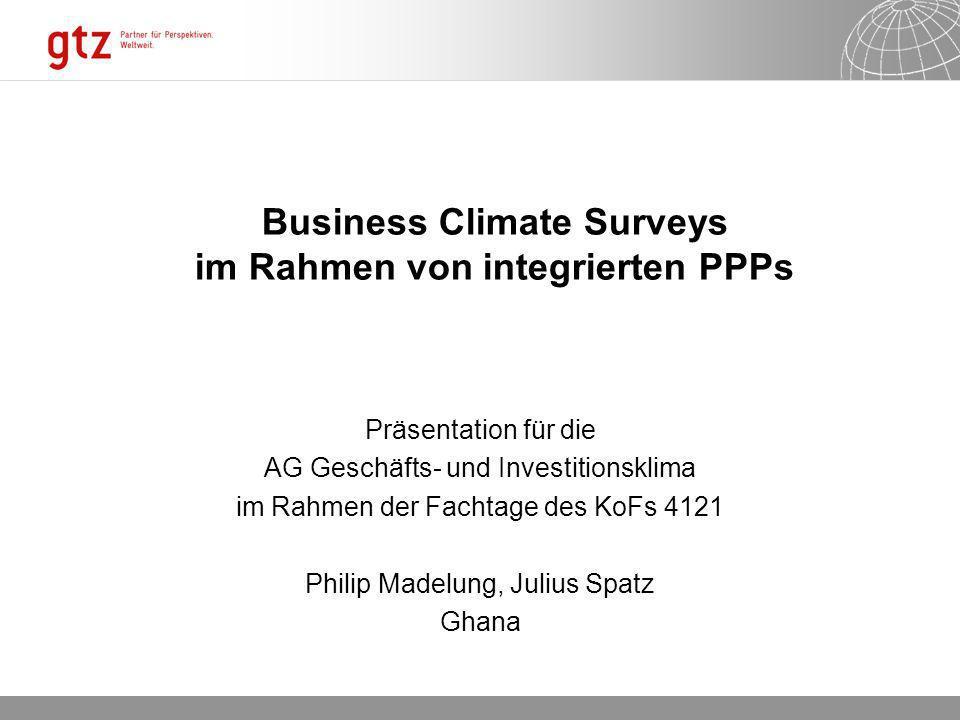 Business Climate Surveys im Rahmen von integrierten PPPs Präsentation für die AG Geschäfts- und Investitionsklima im Rahmen der Fachtage des KoFs 4121