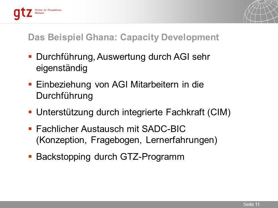 09.02.2014 Seite 11 Seite 11 Durchführung, Auswertung durch AGI sehr eigenständig Einbeziehung von AGI Mitarbeitern in die Durchführung Unterstützung