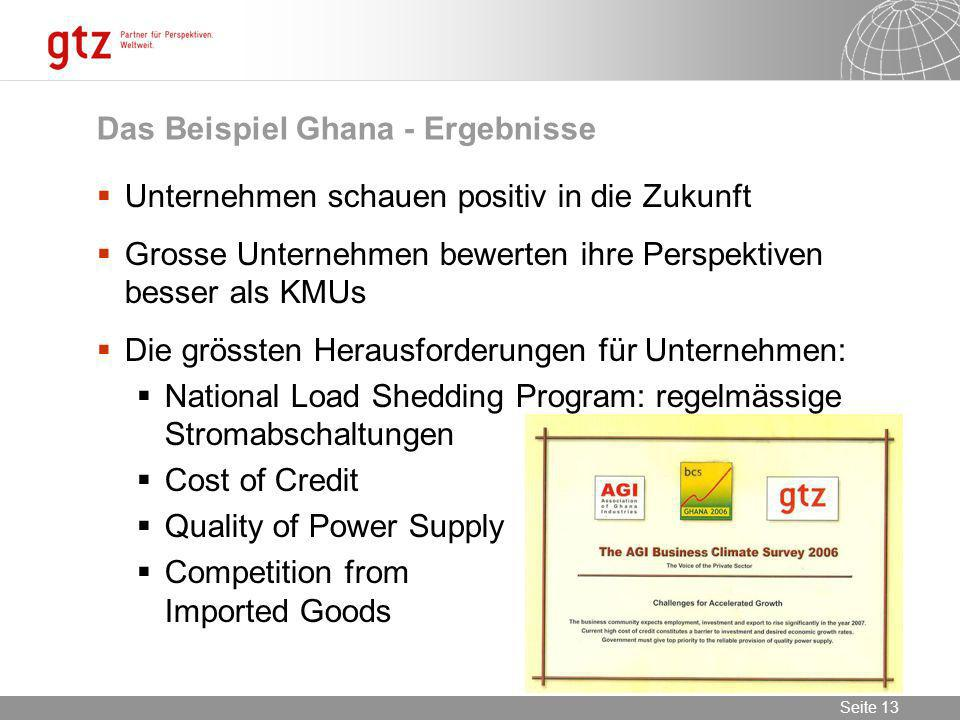 09.02.2014 Seite 13 Seite 13 Das Beispiel Ghana - Ergebnisse Unternehmen schauen positiv in die Zukunft Grosse Unternehmen bewerten ihre Perspektiven