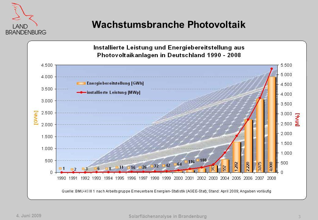 Solarflächenanalyse in Brandenburg 4. Juni 2009 2 In Umsetzung des Beschlusses Gutachten zur Klärung der Fragen des Landtagsbeschlusses wurde vom MIR