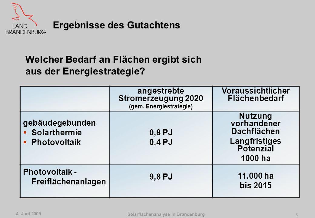 Solarflächenanalyse in Brandenburg 4. Juni 2009 7 Flächenverbrauch, Nutzungskonkurrenz mit anderen Flächennutzungen Landschaftsbild und Erholung (tech