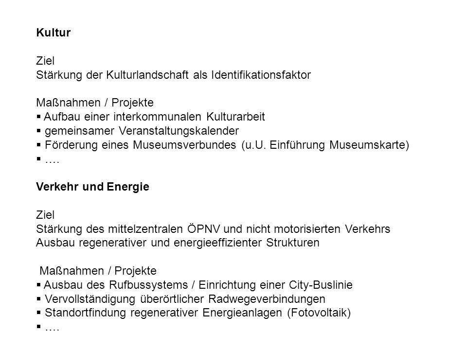 Kultur Ziel Stärkung der Kulturlandschaft als Identifikationsfaktor Maßnahmen / Projekte Aufbau einer interkommunalen Kulturarbeit gemeinsamer Veranst