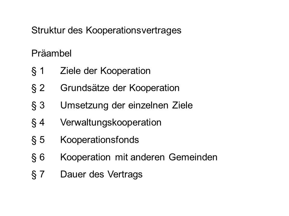 Struktur des Kooperationsvertrages Präambel § 1Ziele der Kooperation § 2Grundsätze der Kooperation § 3Umsetzung der einzelnen Ziele § 4Verwaltungskoop