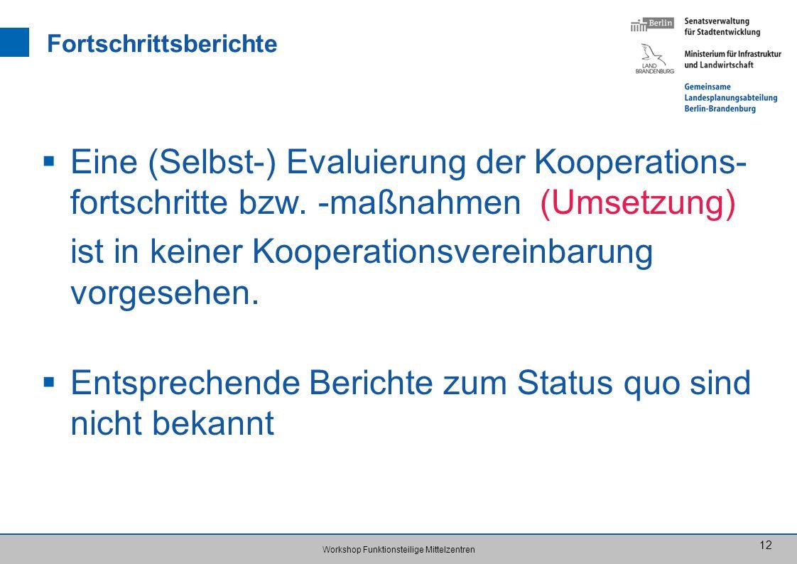 Workshop Funktionsteilige Mittelzentren 12 Fortschrittsberichte Eine (Selbst-) Evaluierung der Kooperations- fortschritte bzw.