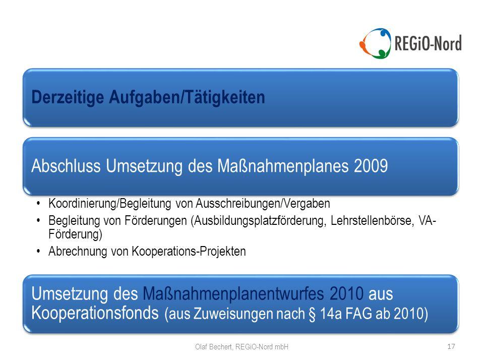 17 Olaf Bechert, REGiO-Nord mbH Derzeitige Aufgaben/Tätigkeiten Abschluss Umsetzung des Maßnahmenplanes 2009 Koordinierung/Begleitung von Ausschreibungen/Vergaben Begleitung von Förderungen (Ausbildungsplatzförderung, Lehrstellenbörse, VA- Förderung) Abrechnung von Kooperations-Projekten Umsetzung des Maßnahmenplanentwurfes 2010 aus Kooperationsfonds (aus Zuweisungen nach § 14a FAG ab 2010)