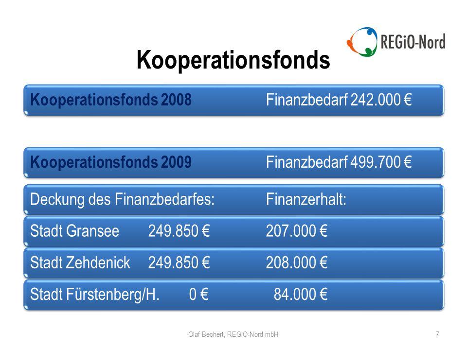Kooperationsfonds 7 Kooperationsfonds 2008 Finanzbedarf 242.000 Kooperationsfonds 2009 Finanzbedarf 499.700 Deckung des Finanzbedarfes:Finanzerhalt:Stadt Gransee249.850 207.000 Stadt Zehdenick249.850 208.000 Stadt Fürstenberg/H.