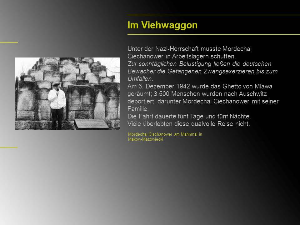 Im Viehwaggon Unter der Nazi-Herrschaft musste Mordechai Ciechanower in Arbeitslagern schuften. Zur sonntäglichen Belustigung ließen die deutschen Bew